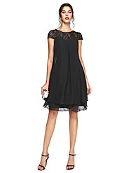 cheap -A-Line Illusion Neck Knee Length Chiffon / Lace Short Sleeve Elegant / Plus Size Mother of the Bride Dress with Sequin 2020