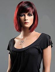 cheap -black red mixed straight hair wave synthetic fiber wig