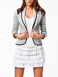 cheap -Women's Work Fall Short Blazer, Solid Colored Long Sleeve Cotton Blend Black / Gray