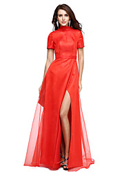 cheap -A-Line Celebrity Style Chinese Style Formal Evening Dress High Neck Short Sleeve Floor Length Organza with Split Front 2020