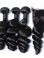 cheap -3 bundles 12 26 malaysia virgin hair weft loose wave with 1pcs free middle part lace closure natural black hair weaves