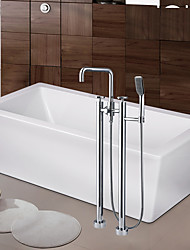 cheap -Contemporary Art Deco/Retro Modern Tub And Shower Waterfall Widespread Floor Standing Ceramic Valve Two Handles Two Holes Chrome, Bathtub