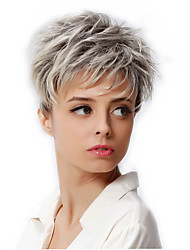 cheap -Synthetic Wig Cosplay Wig Wavy Wavy Pixie Cut Wig Short Silver Synthetic Hair Women's Dark Roots African American Wig Gray