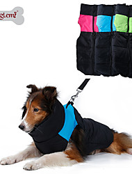 cheap -Dog Coat Vest Dog Clothes Color Block Green Blue Pink Nylon Cotton Costume For Winter Men's Women's Keep Warm