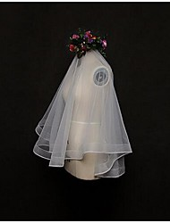 cheap -One-tier Lace Applique Edge Wedding Veil Blusher Veils / Elbow Veils / Fingertip Veils with Tulle