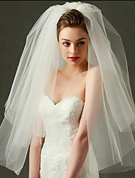 cheap -Two-tier Cut Edge Wedding Veil Blusher Veils / Elbow Veils / Fingertip Veils with Tulle / Classic