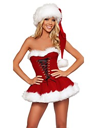 cheap -Cosplay Costume / Santa Clothes Sexy Uniforms / Vacation Dress Women's Red / Dark Green / Green Terylene Cosplay Accessories Christmas / Carnival Costumes / Hat / Hat
