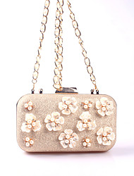 abordables -Femme Billes / Perle / Imitation Perle Similicuir Pochette Sacs de soirée en cristal strass A Fleur Dorée Rose