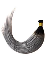 Недорогие -PANSY Fusion / с I-образным кончиком Расширения человеческих волос Прямой Натуральные волосы Накладки из натуральных волос Омбре Жен. Черный / серый