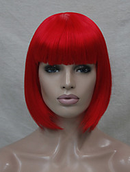 cheap -Cosplay Costume Wig Synthetic Wig Cosplay Wig Straight Straight Bob Short Bob Wig Red Synthetic Hair Women's Red