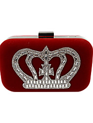 cheap -Women's Bags Velvet Evening Bag Crystal / Rhinestone Solid Colored Wedding Party Event / Party Black Purple Red Fuchsia