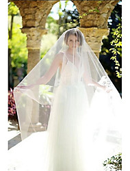 cheap -One-tier Cut Edge Wedding Veil Blusher Veils / Cathedral Veils with Tulle / Classic