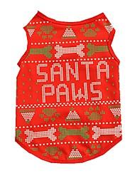 cheap -Cat Dog Vest Dog Clothes Red Costume Cotton Bone Christmas XS S M L