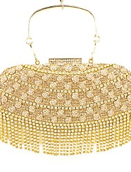 cheap -Women's Crystal / Rhinestone / Flower / Metallic Special Material Evening Bag Solid Colored Golden / Black / Silver