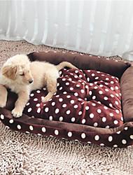 cheap -Cat Dog Mattress Pad Bed Bed Blankets Soft Pet Mats & Pads Fabric Plush Polka Dot Brown