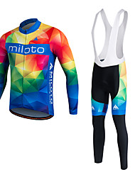 cheap -Miloto Men's Long Sleeve Cycling Jersey Winter Fleece Polyester Silicon White Argyle Bike Clothing Suit Thermal / Warm Fleece Lining Breathable 3D Pad Quick Dry Sports Argyle Mountain Bike MTB Road