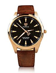 cheap -Men's Wrist Watch Quartz Leather Black / Brown 30 m Luminous Noctilucent Analog Classic Casual Fashion Dress Watch - Brown Black / Silver White / Brown