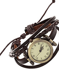 cheap -Women's Bracelet Watch Wrist Watch Quartz Quilted PU Leather Brown Punk Analog Vintage Casual Bohemian Bangle Fashion - Brown One Year Battery Life