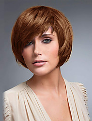cheap -Human Hair Blend Wig Straight Classic Classic Straight Medium Auburn#30 Medium Auburn / Bleach Blonde Beige Blonde / Bleached Blonde 12 inch Daily