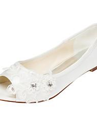 cheap -Women's Flats Flat Heel Peep Toe Crystal Elastic Fabric Spring / Summer White / Ivory / Wedding / Party & Evening / EU42