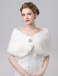 cheap -Faux Fur Imitation Cashmere Wedding Party/Evening Women's Wrap Capelets With Rhinestone Lace Button