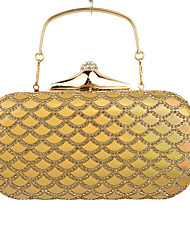 cheap -Women's Crystal / Rhinestone Poly urethane Evening Bag Geometric Black / Golden / Silver