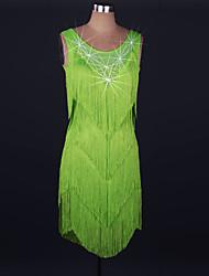 abordables -Danse latine Robes Femme Utilisation Spandex / Dentelle Gland / Cristaux / Stras Sans Manches Taille haute Robe