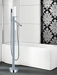 cheap -Contemporary Art Deco/Retro Modern Tub And Shower Waterfall Handshower Included Pullout Spray Widespread Floor Standing Ceramic Valve