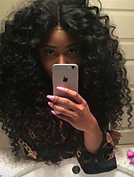 cheap -Synthetic Lace Front Wig Curly Curly Lace Front Wig Medium Length Natural Black Synthetic Hair Women's Heat Resistant Natural Hairline Middle Part Natural Black / African American Wig