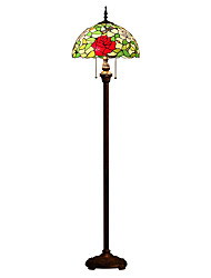 cheap -Tiffany Style Arched Floor Standing Lamp 63 Inch Tall Stained Glass Red Yellow Green Rose Flower Vintage Light Decor Bedroom Living Room Reading Gift