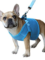 cheap -Cat Dog Harness Leash Breathable Adjustable / Retractable Safety Solid Colored Mesh Red Blue Pink