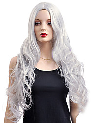 cheap -Synthetic Wig Cosplay Wig Wavy Kardashian Wavy Wig Very Long Silver Synthetic Hair Women's White