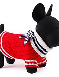Недорогие -Кошка Собака Свитера Рождество Зима Одежда для собак Красный Синий Костюм Вискоза / полиэфир Контрастных цветов Новый год XS S M L