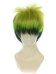 cheap -blue exorcist king of elemental earth amaimon gradient green halloween wigs synthetic wigs costume wigs Halloween