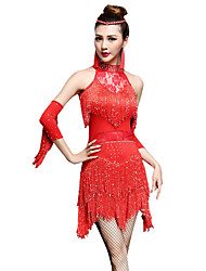 cheap -Latin Dance Dress Tassel Crystals / Rhinestones Women's Performance Sleeveless High Nylon Chinlon