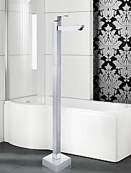 cheap -Contemporary Art Deco/Retro Modern Tub And Shower Widespread Floor Standing Ceramic Valve Single Handle One Hole Chrome, Bathtub Faucet