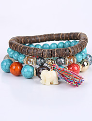 cheap -Turquoise Bead Bracelet Bracelet Beaded Elephant Animal Fashion Cute Acrylic Bracelet Jewelry White / Gray / Blue For Anniversary Business Valentine Outdoor / Resin