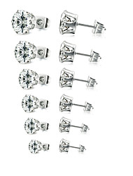 cheap -Men's Women's Cubic Zirconia Stud Earrings Solitaire Ladies European Simple Style Zircon Silver Plated Earrings Jewelry White / Black For Wedding Party Daily Masquerade Engagement Party Prom 6 Pairs