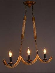 cheap -3-Light 70cm Mini Style / Designers / Candle Style Flush Mount Lights Metal Island Brass Retro 110-120V / 220-240V