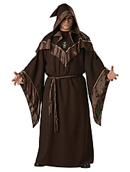 cheap -Witch Coat Cosplay Costume Party Costume Adults' Men's More Uniforms Halloween Festival / Holiday Cotton Brown Carnival Costumes Print / Hat