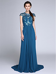 cheap -Sheath / Column Illusion Neck Sweep / Brush Train Chiffon / Sequined Chinese Style Holiday / Cocktail Party / Formal Evening Dress with Ruched / Side Draping 2020