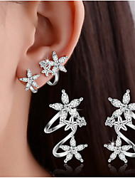 cheap -Women's Crystal Synthetic Diamond Stud Earrings Clip on Earring cuff Leaf Heart Flower Ladies Basic Double-layer Elegant Bling Bling everyday Sterling Silver Earrings Jewelry Gold / Silver For