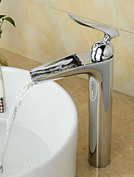 cheap -Bathroom Sink Faucet - Pre Rinse / Waterfall / Widespread Chrome Centerset Single Handle One HoleBath Taps