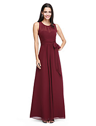 cheap -Sheath / Column Jewel Neck Ankle Length Chiffon Bridesmaid Dress with Bow(s) / Sash / Ribbon / Pleats