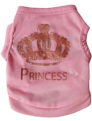 cheap -Cat Dog Shirt / T-Shirt Vest Tiaras & Crowns Birthday Holiday Casual / Daily Birthday Winter Dog Clothes Pink Rose Costume Terylene XS S M L