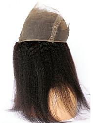 Недорогие -CARA 360 Лобовой Прямой / Естественные прямые Бесплатный Часть Французское кружево Натуральные волосы с детскими волосами