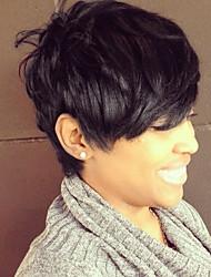 Недорогие -Человеческие волосы Парик Классика Естественные волны Короткие Прически 2019 Прически Холли Берри Классика Естественные волны Черный Medium Auburn Medium Auburn / Bleach Blonde Повседневные