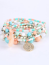cheap -Men's Women's Bead Bracelet Bracelet Ladies Luxury Tassel Multi Layer Acrylic Bracelet Jewelry Pink / Light Blue / Rainbow For Christmas Gifts Graduation Business Casual Valentine Outdoor / Resin