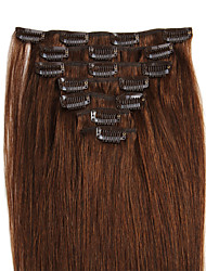 cheap -Febay Clip In Human Hair Extensions Straight Human Hair Light Brown / Bleached Blonde