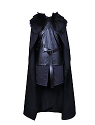 cheap -Jon Snow Cosplay Costume Cloak Outfits Men's Movie Cosplay Black Top Pants Gloves Halloween Carnival New Year